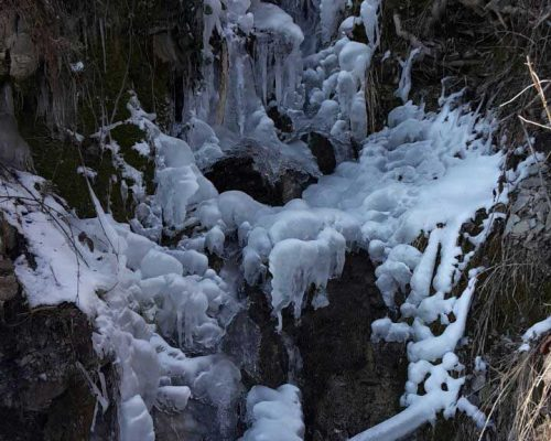 zugefrorener Wasserfall bei Bad Oberdorf